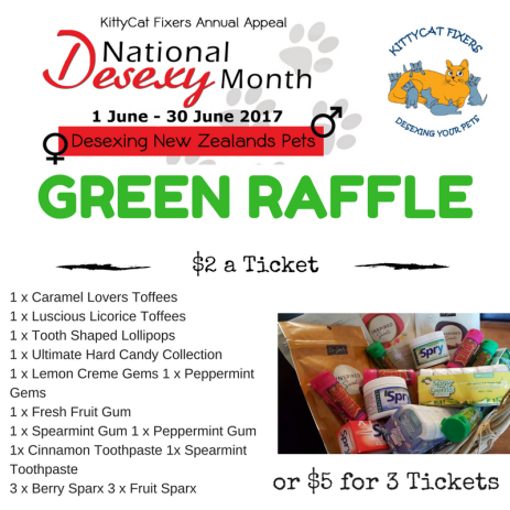 Green Raffle - by Sweet Friends Sugar Free Xylitol Sweets that Sweeten and Protect your familes teeth and overall health. To purchase tickets please deposit funds into our ANZ bank account: 06-0433-0458818-00 Particulars: Your full name Ref: Green17 $2 a ticket or $5 for 3 Tickets. If you would like one of each Raffle for $5, please use the following reference: GRY17 Raffle will be drawn on Monday 3rd July. This is only open to NZ residents with NZ postal address for courier.