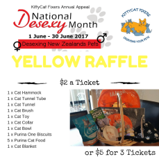 """Yellow Raffle - Gifts for Kitty Treat your kitty to a """"Gifts for Kitty"""" prize pack. To purchase tickets please deposit funds into our ANZ bank account: 06-0433-0458818-00 Particulars: Your full name Ref: Yellow17 $2 a ticket or $5 for 3 Tickets. If you would like one of each Raffle for $5, please use the following reference: GRY17 Raffle will be drawn on Monday 3rd July. This is only open to NZ residents with NZ postal address for courier."""